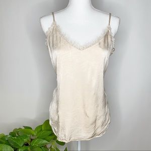 Anthropologie Floreat Laced szL ivory cami C0294